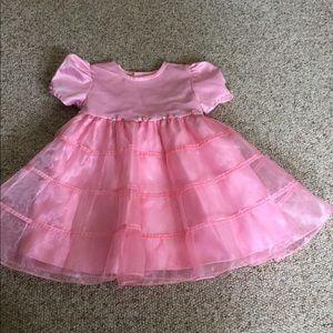 Girls 24 mo. Pink ruffled silk fancy dress
